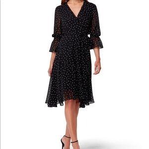 Tahari ASL Polka Dot Wrap Style Midi Dress Size 12